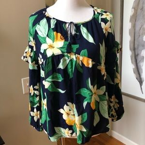 Old navy blue yellow floral long sleeve blouse